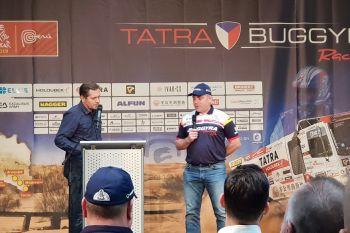 Moderátor Martin Pouva a pilot kamionu (515) Martin Šoltys